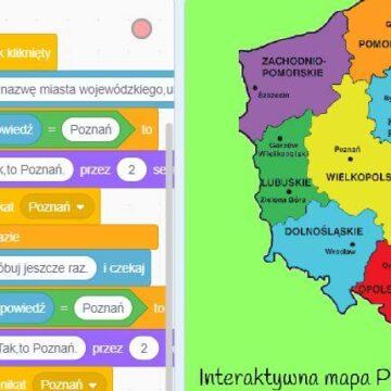 """16. Budowa Gry Scratch – """"Interaktywna Mapa Polski"""" – Miasta wojewódzkie – część 1"""